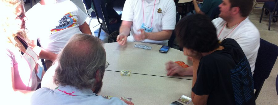 Attendees playing games