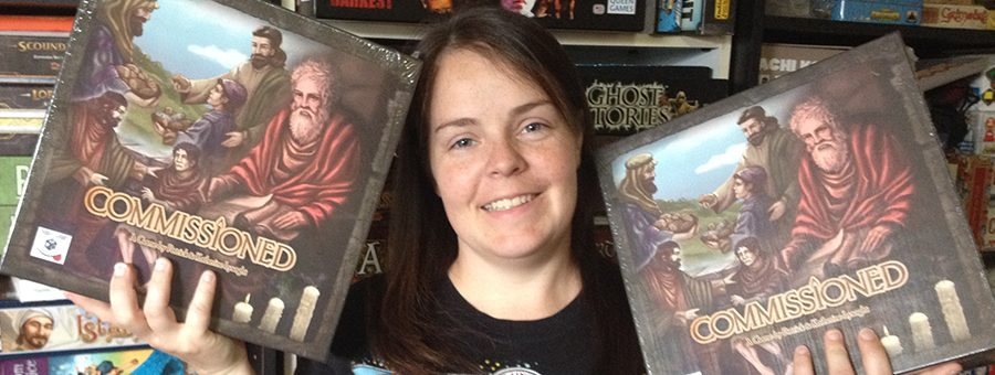Molly with two copies of Commissioned