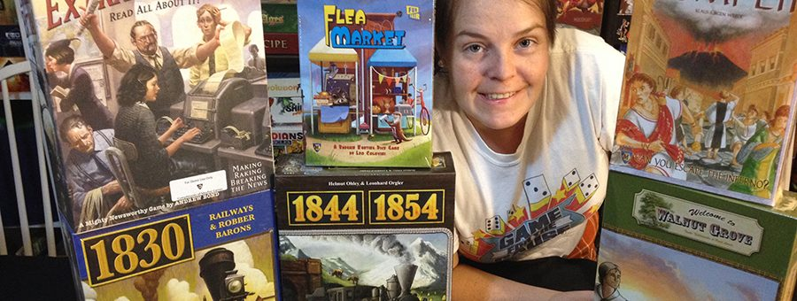Molly with Mayfair Games donations