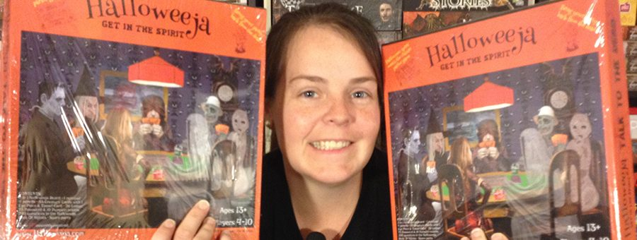Molly with two copies of Halloweeja