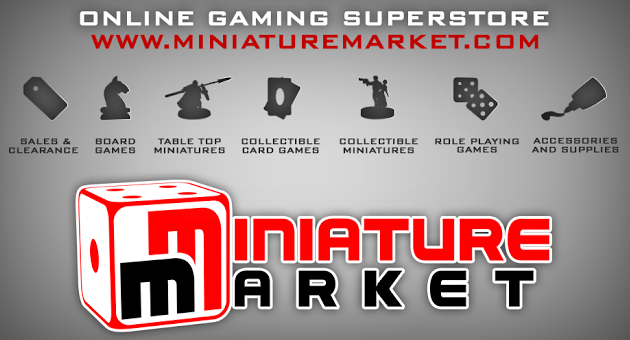 Miniature Market logo with icons for different games