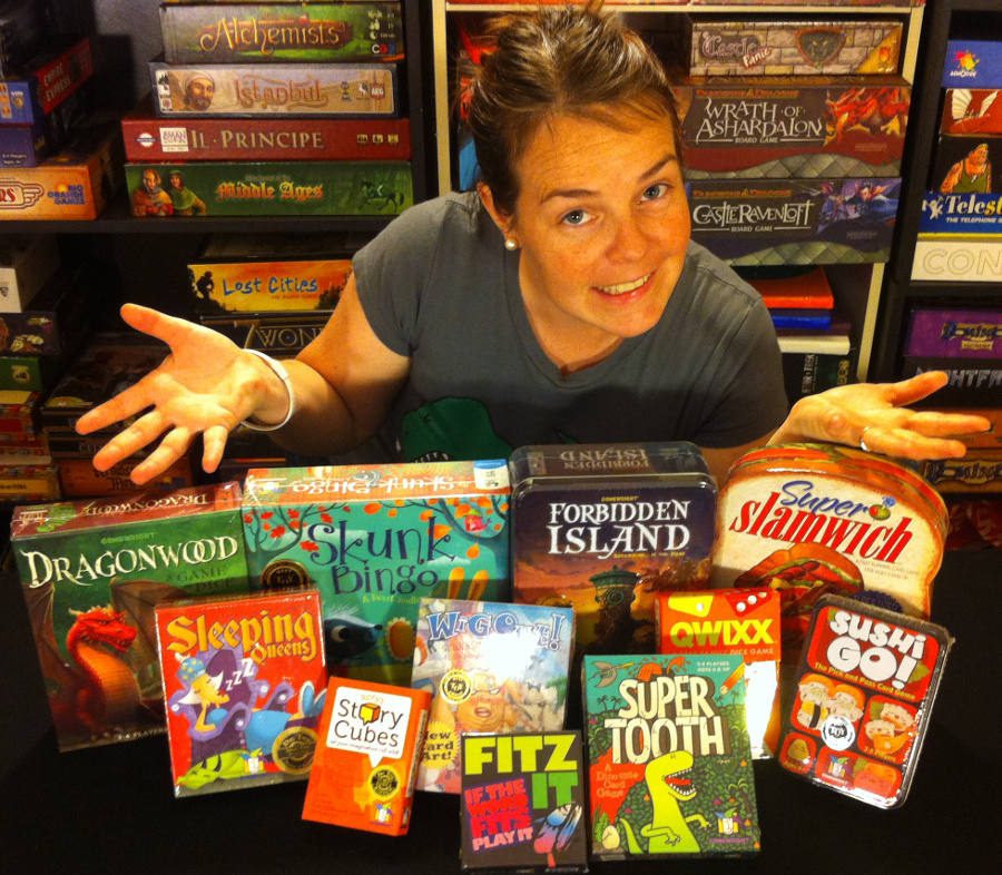 Molly with Gamewright's donations